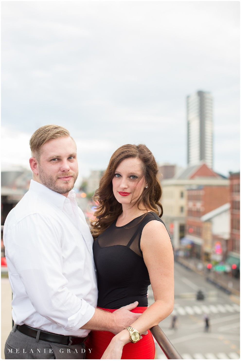the best nashville engagement photographer, Melanie Grady nashville wedding photographer, downtown nashville engagement photography, she said yes, red skirt, red lips, red and black engagement session