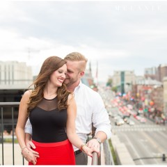 the best nashville engagement photographer, Melanie Grady nashville wedding photographer, downtown nashville engagement photography, she said yes, red skirt, red lips, red and black engagement session, rooftop bar